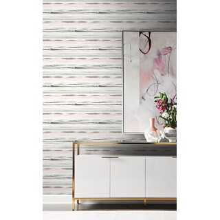 Luxe Haven Horizon Stripe Peel and Stick Wallpaper (27 in. W x 18 ft. L - Pink Sunset)