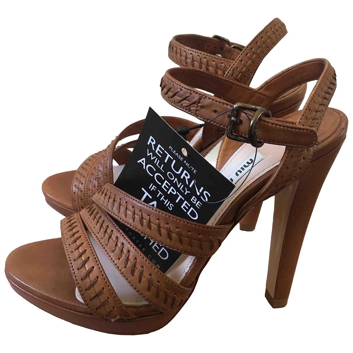 Miu Miu - Sandales   pour femme en cuir - camel