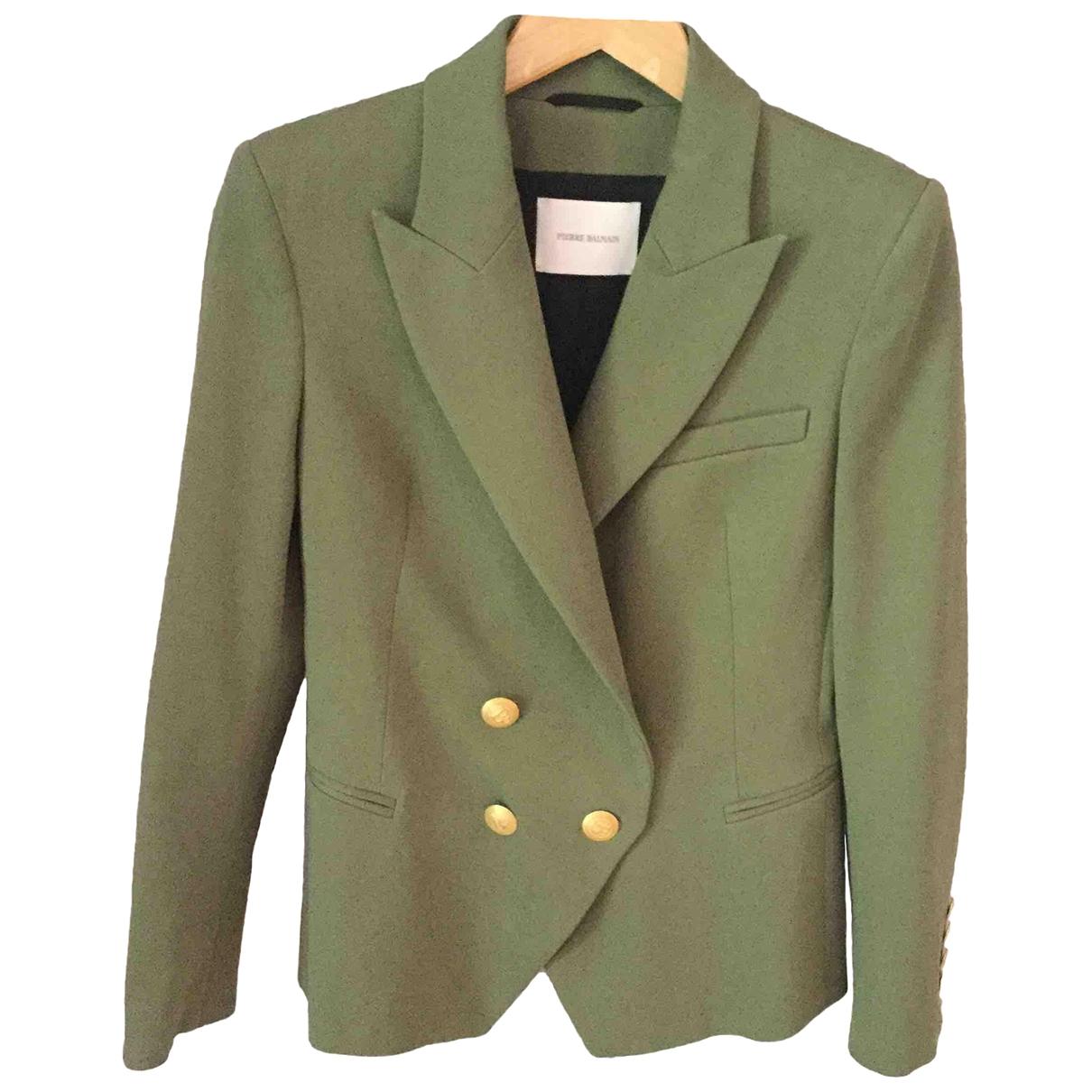 Pierre Balmain \N Green Cotton jacket for Women 38 FR