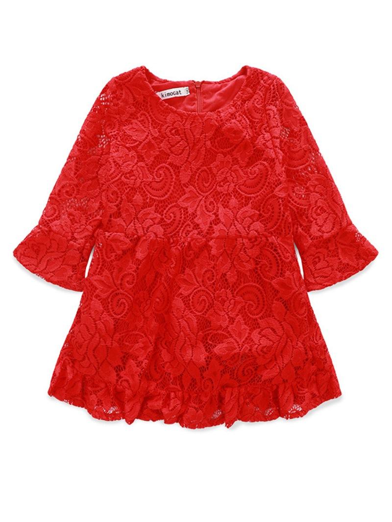Ericdress Lace Flare Sleeve Ruffles Princess Girls Dress