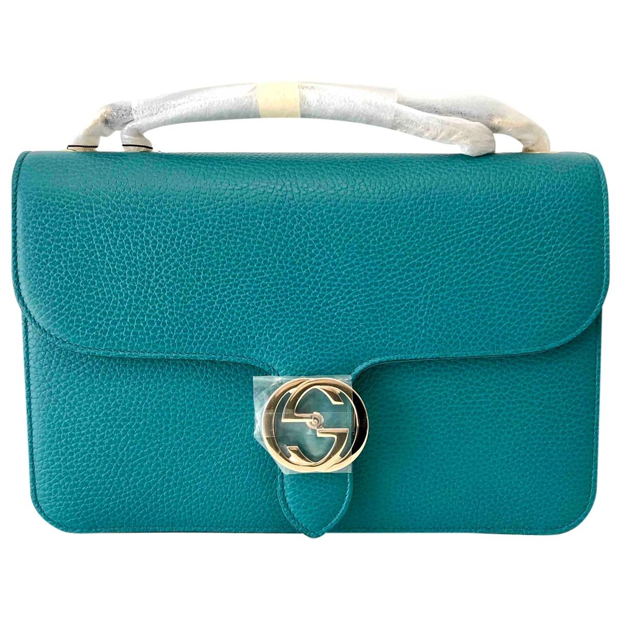 Gucci Interlocking Turquoise Leather handbag for Women \N