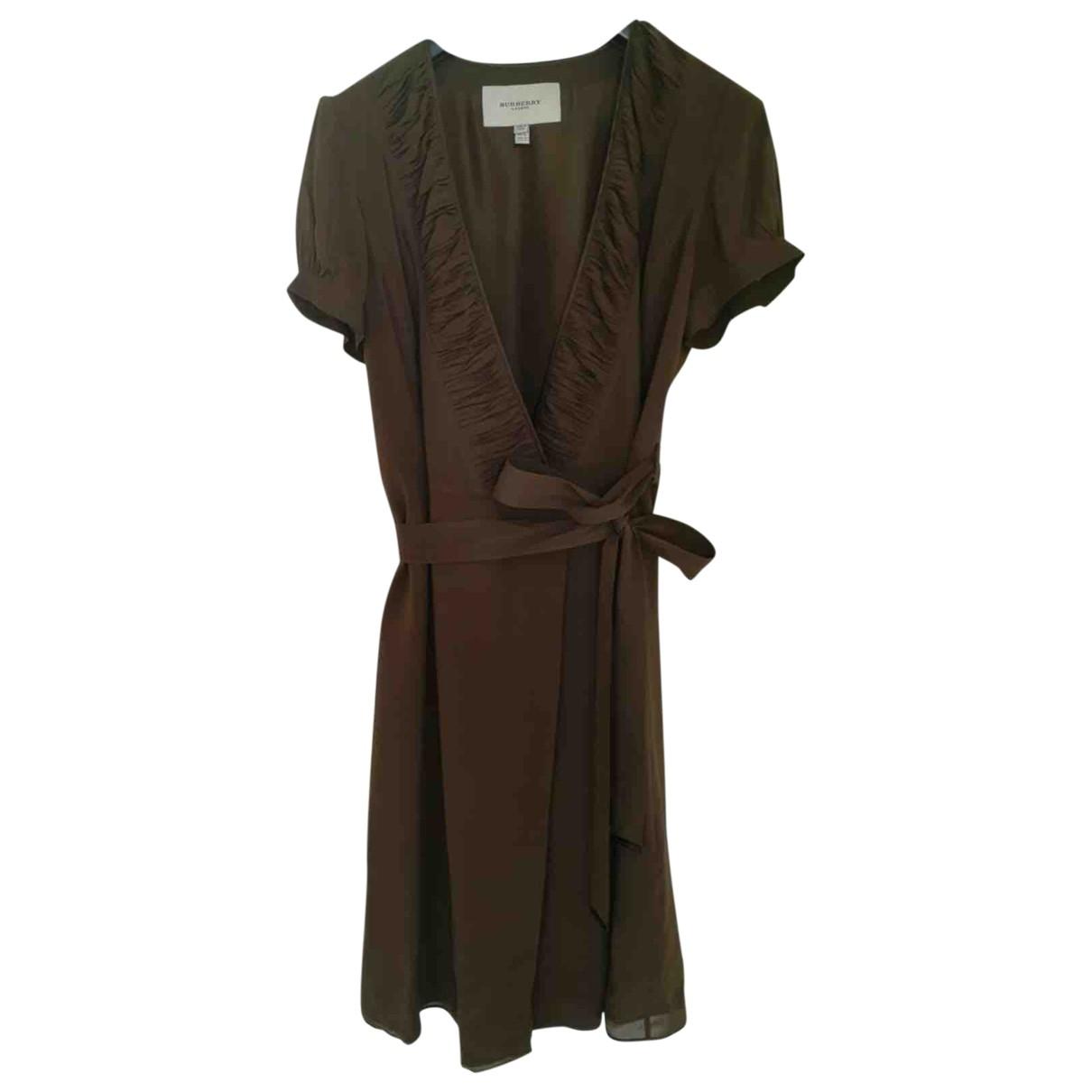Burberry - Robe   pour femme en soie - kaki
