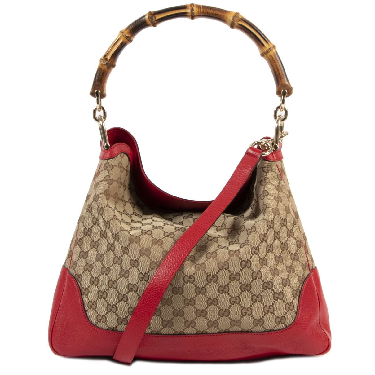 Gucci Bamboo Handtasche in  Bunt Leinen