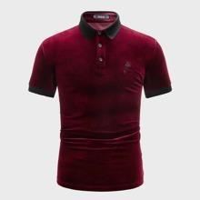 Men Contrast Trim Rose Embroidered Velvet Polo Shirt