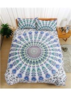 Bohemian Mandala Print White Polyester 3-Piece Bedding Sets