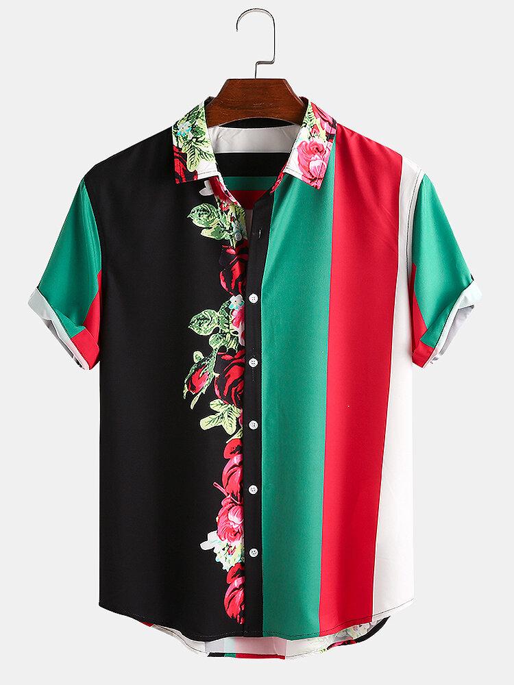 Men Floral & Color Striped Patchwork Casual Curved Hem Shirt