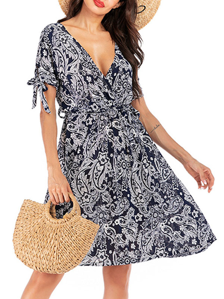 Milanoo Chiffon Summer Dresses V Neck Print Sundress