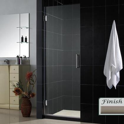 SHDR-20297210F-04 Unidoor 29 In. W X 72 In. H Frameless Hinged Shower Door  Clear Glass  In Brushed