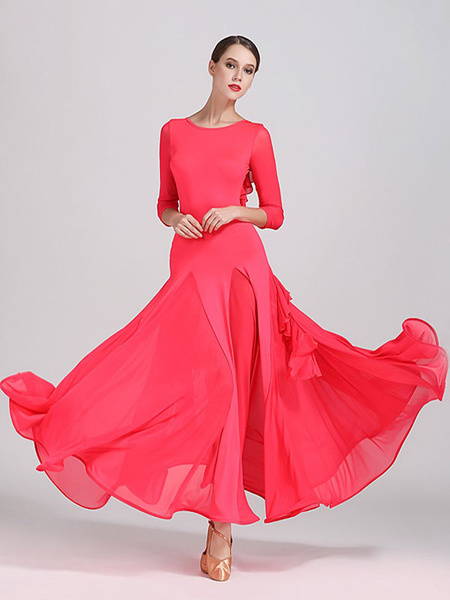 Milanoo Ballroom Dance Costumes Silk Ruffle Backless Dress Dancer Women Dancing Wear