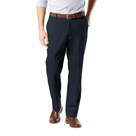 Dockers Men's Classic Fit Signature Khaki Lux Cotton Stretch Pants D3, 42 30, Blue