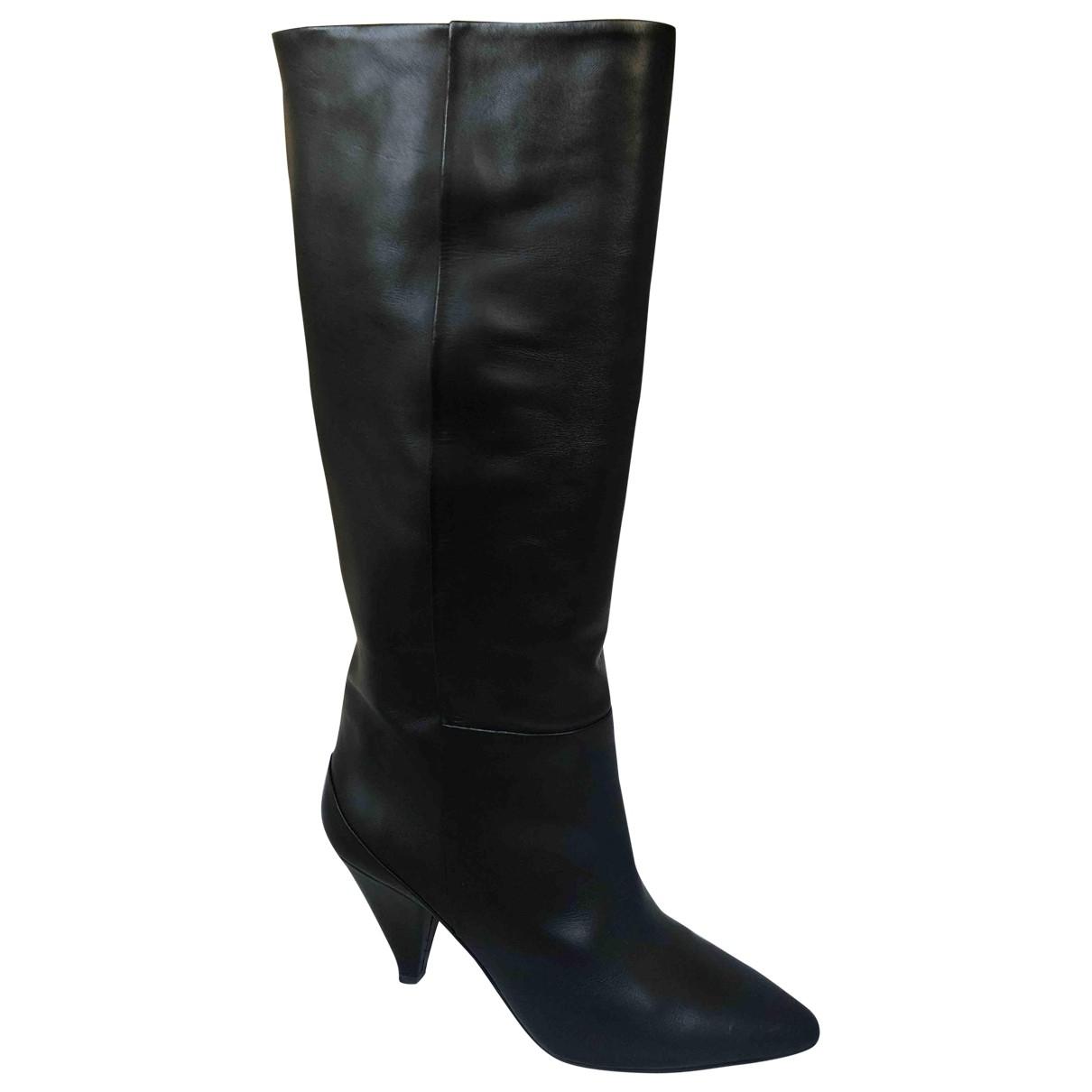 Samsoe & Samsoe - Bottes   pour femme en cuir - noir