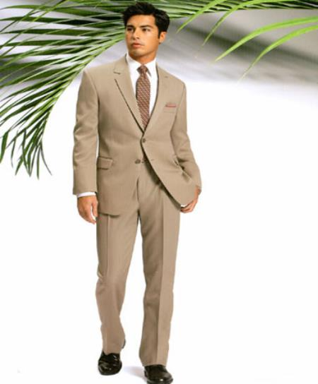 Mens Two Button Slim Cut Fitted Light Tan /Beige Suit