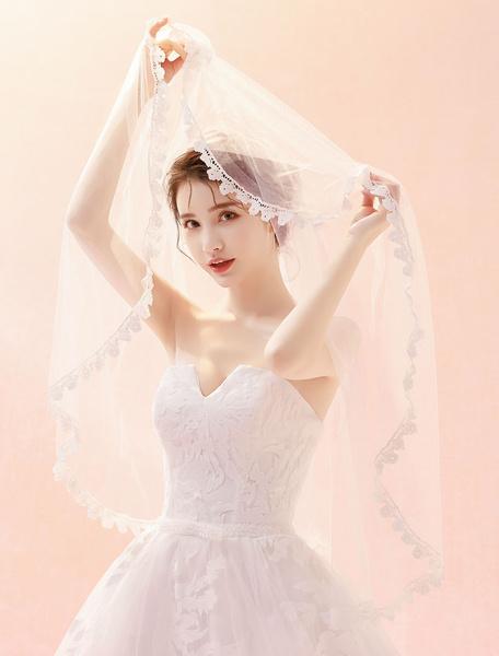 Milanoo Wedding Veil Ivory Lace Applique One Tier Bridal Veil