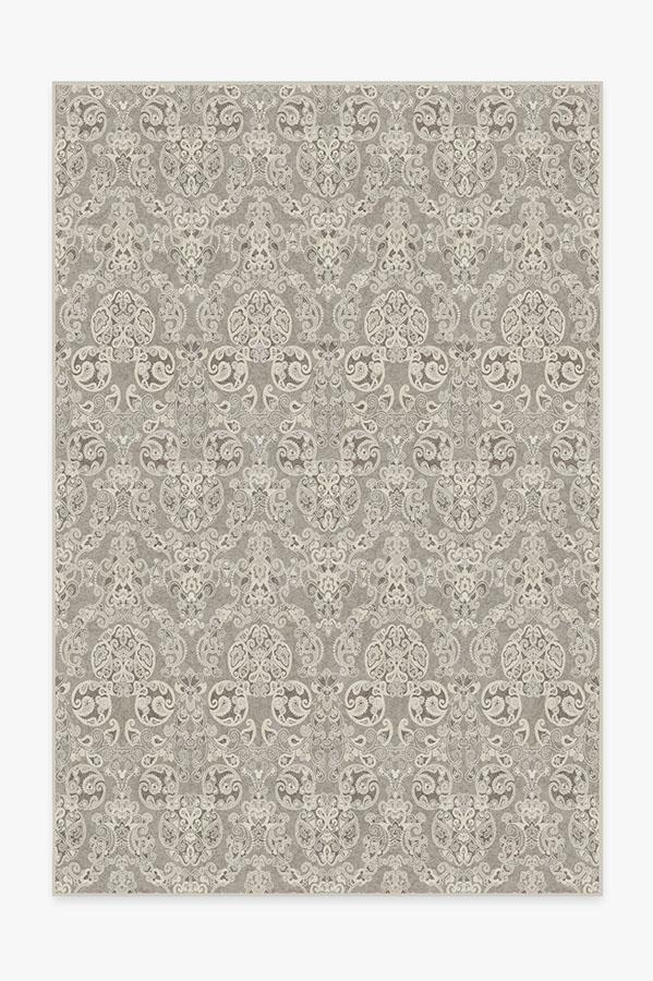 Washable Rug Cover | Mickey Damask Stone Rug | Stain-Resistant | Ruggable | 6'x9'