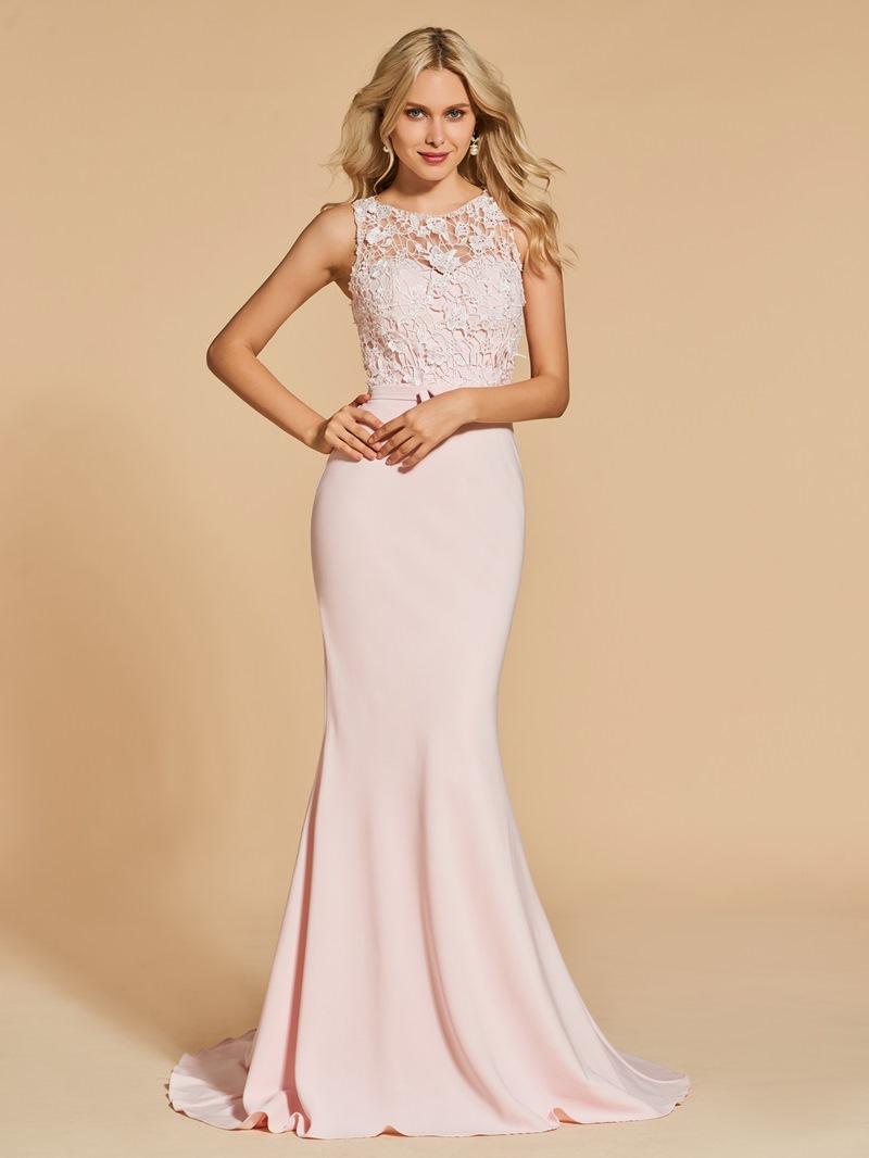 Ericdress Scoop Neck Mermaid Evening Dress With Sweep Train
