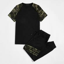 T-Shirt mit Camo Muster auf Ärmeln & Jogginghose Set mit Kordelzug