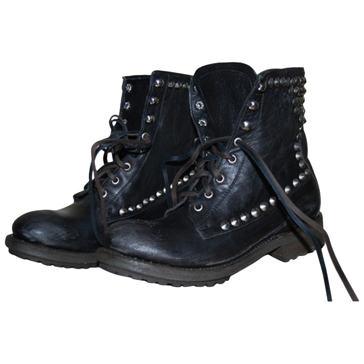 Ash \N Black Leather Ankle boots for Women 37 EU