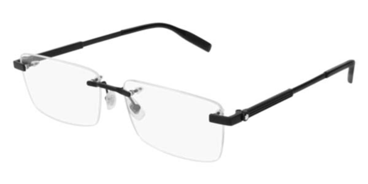 Mont Blanc MB0030O 004 Men's Glasses Black Size 59 - Free Lenses - HSA/FSA Insurance - Blue Light Block Available
