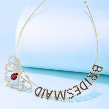 Rhinestone Inlaid Letter Crown Hair Hoop