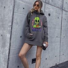 Vestido sudadera con capucha con estampado de letra y extraterrestre