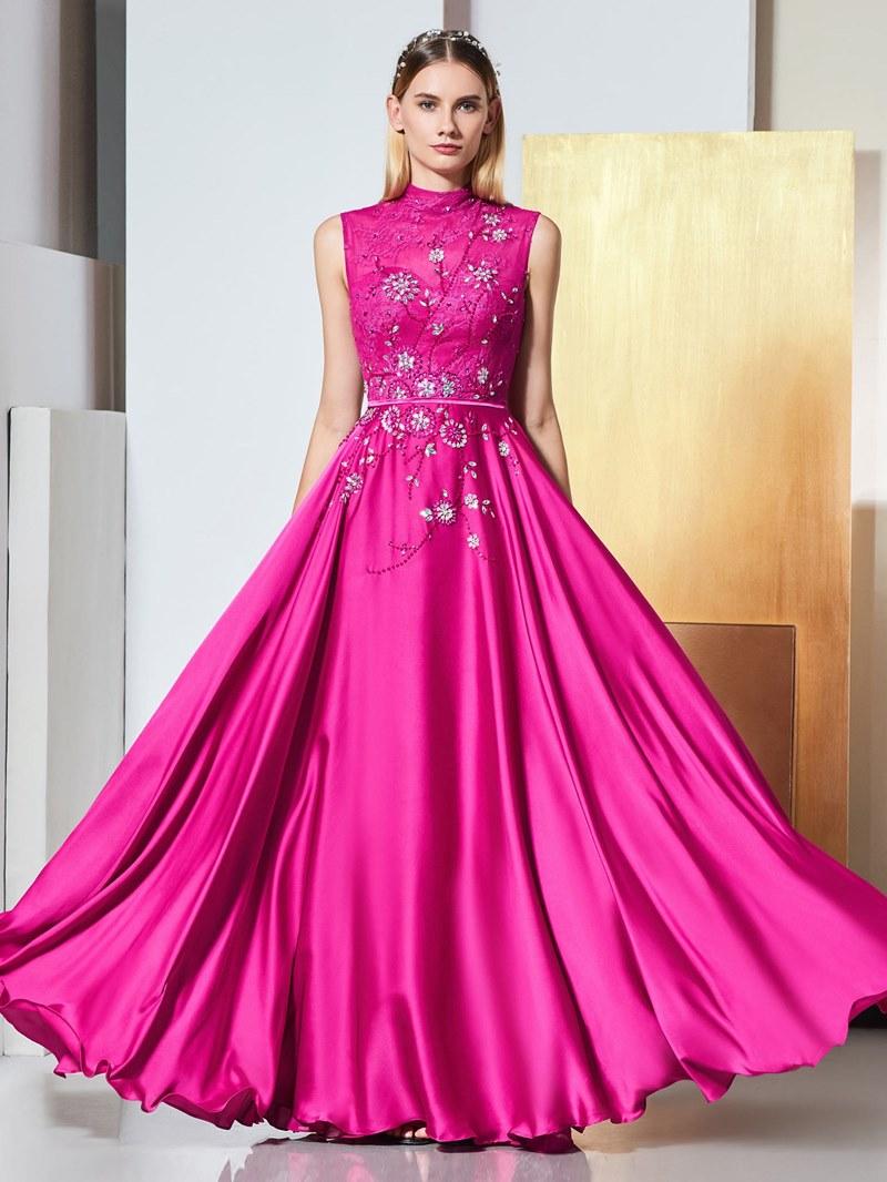 Ericdress A Line High Neck Applique Long Evening Dress