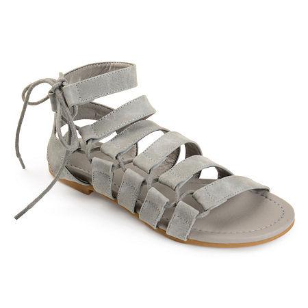 Journee Collection Womens Cleo Flat Sandals, 7 Medium, Gray