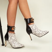 Rhinestone Decor Snakeskin Stiletto Heeled Boots