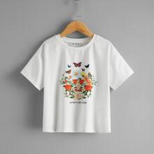 Girls Drop Shoulder Floral Print Top