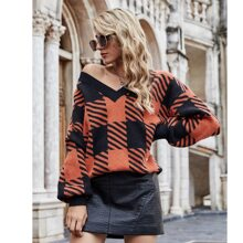 V-neck Striped & Plaid Pattern Sweater