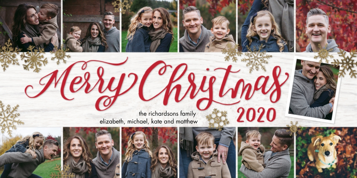 Christmas Photo Cards Flat Glossy Photo Paper Cards with Envelopes, 4x8, Card & Stationery -2020 Christmas Snowflakes Collage by Tumbalina