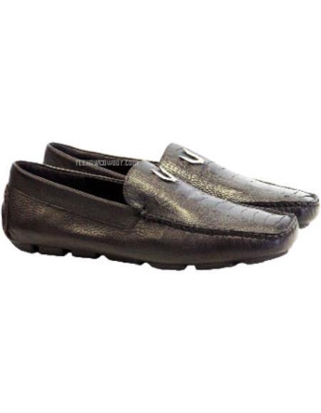 Men's Brown Vestigium Genuine Ostrich Leg Loafers Handcrafted
