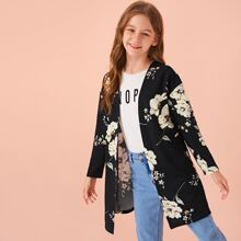 Girls Open Front Drop Shoulder Floral Print Coat