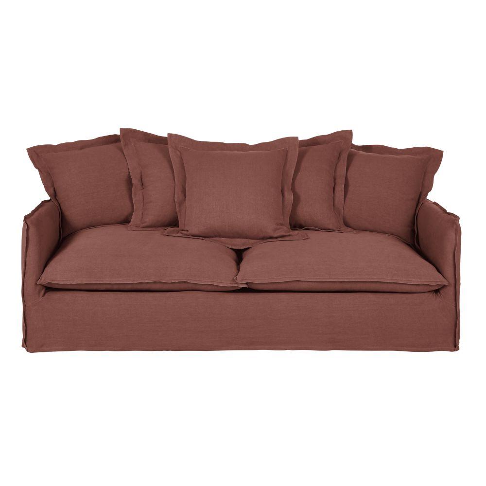 3/4-Sitzer-Schlafsofa mit dickem rhabarberrotem Leinenbezug und Matratze 6 cm Barcelone