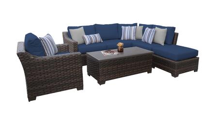 RIVER-07f-NAVY Kathy Ireland Homes and Gardens River Brook 7-Piece Wicker Patio Set 07f - 1 Set of Truffle and 1 Set of Midnight