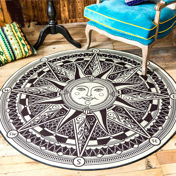 Black and White Round Polyester Fibre Sun-God Pattern Area Rug