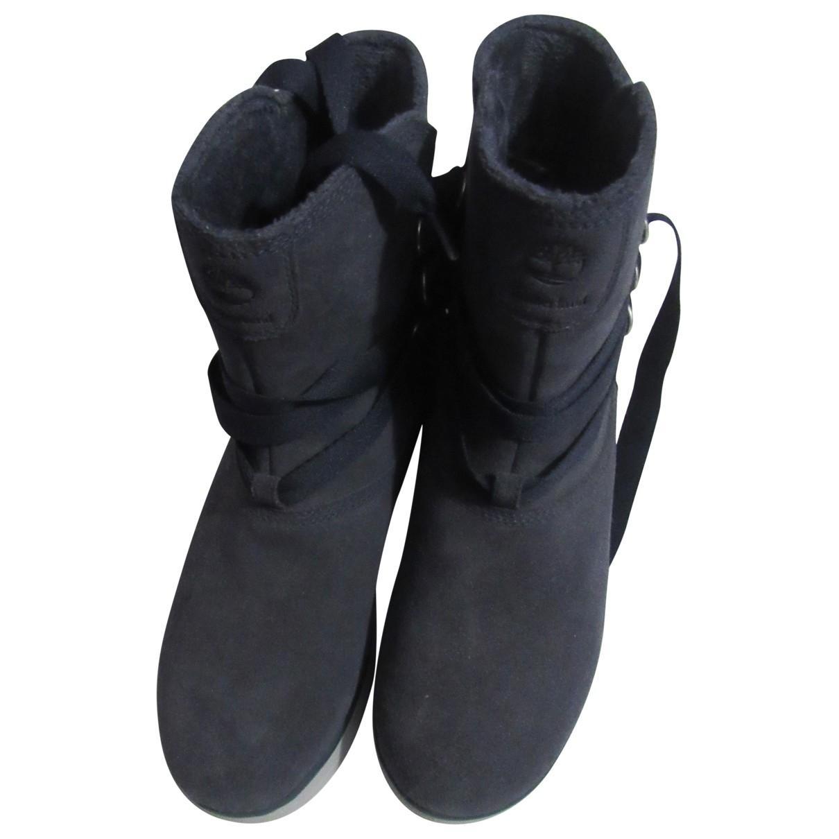 Timberland - Boots   pour femme en cuir - bleu
