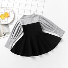 Kleid mit Stehkragen und Puffaermeln