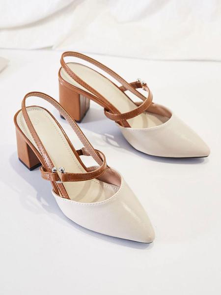Milanoo Mid-Low Heels For Woman Chic Pointed Toe Slingbacks Chunky Heel Light Sky Blue Elegant Pumps