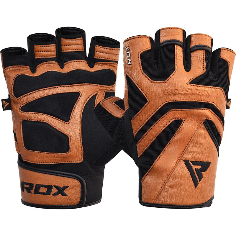 RDX S12 Gants de Musculation 2X Grande  bronzer Cuir