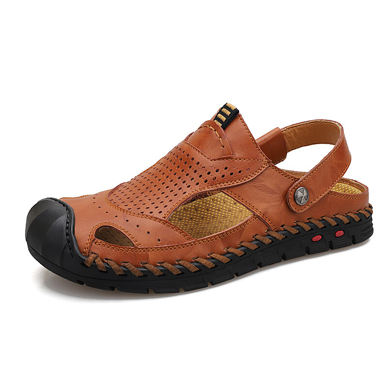 Men Outdoor Anti-collision Toe Slip Resistant Soft Leather Sandals