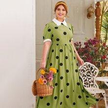 Plus Contrast Collar & Cuff Polka Dot Maxi Dress