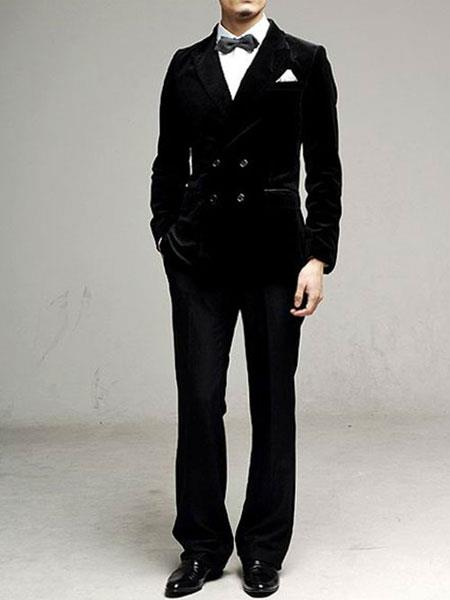 Velvet Black Double Breasted Suits For Men Available In Black
