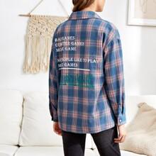Bluse mit Buchstaben Grafik und Karo Muster
