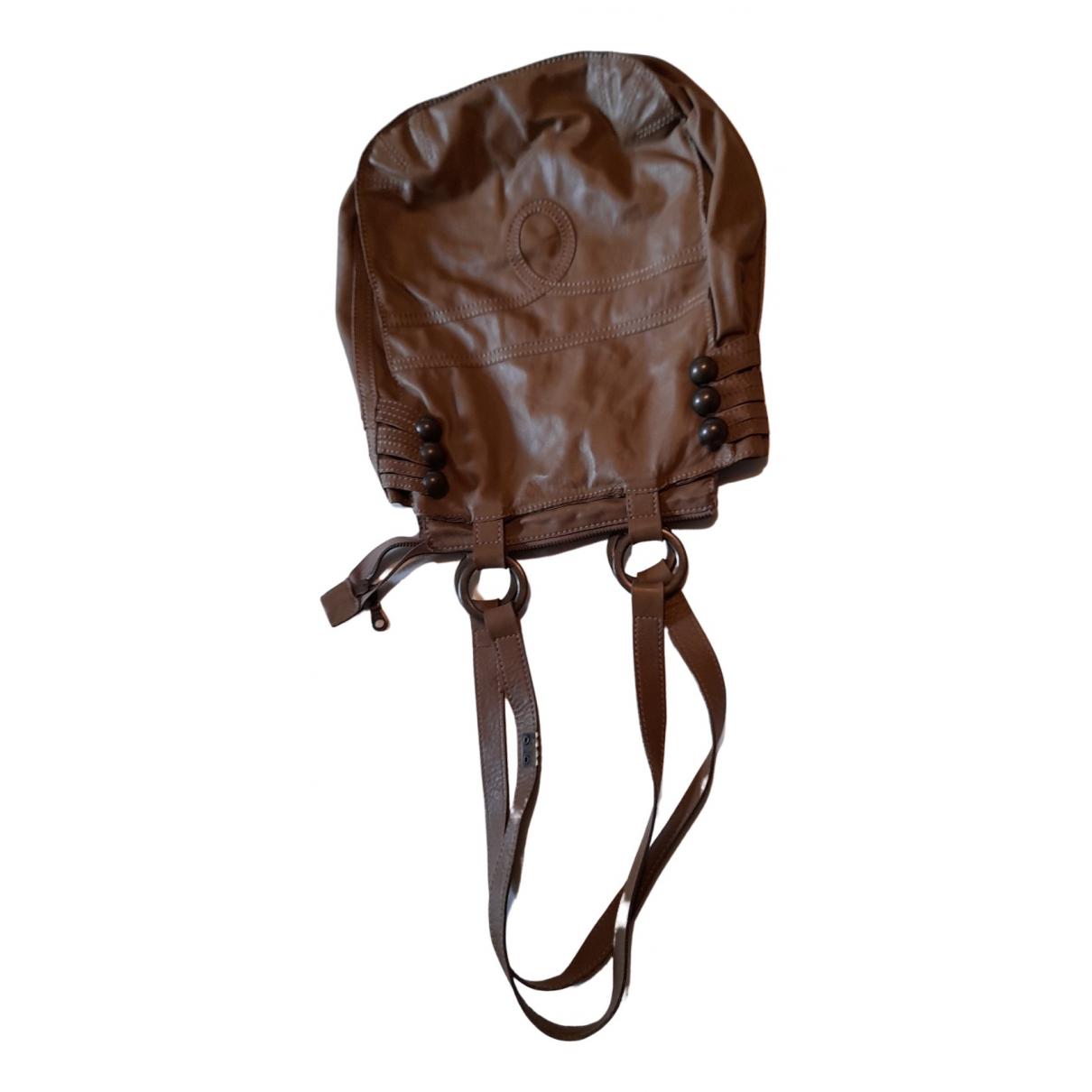 Ikks N Camel Leather handbag for Women N