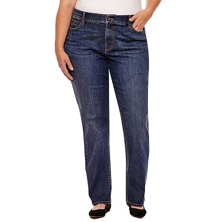 St. John's Bay Womens Mid Rise Stretch Straight Leg Jean, 18w Long , Blue