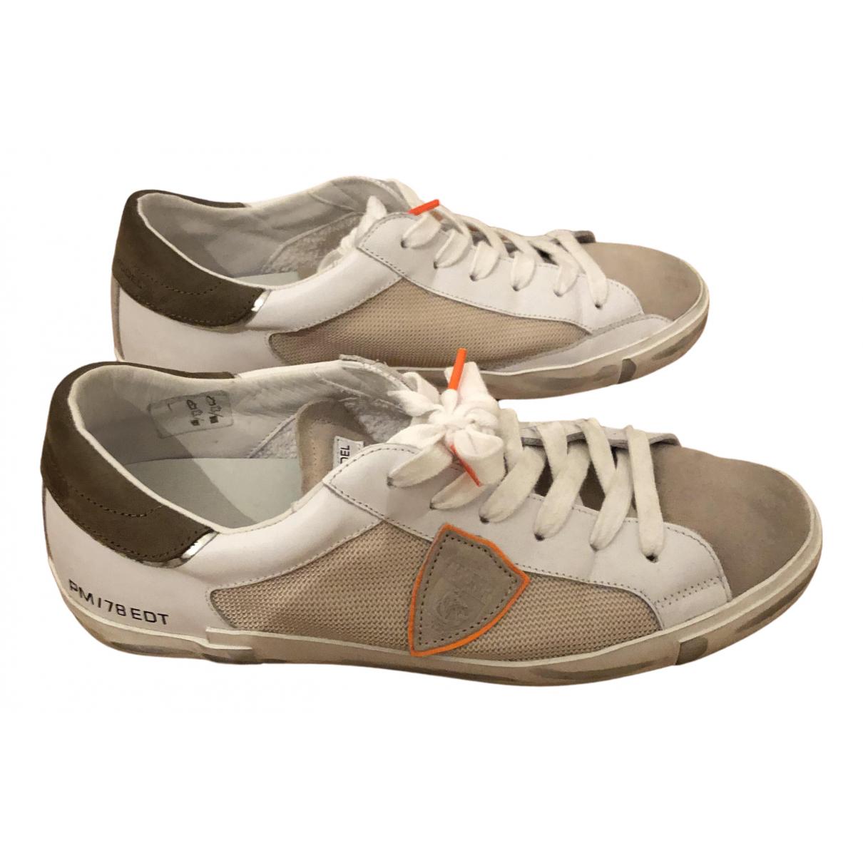 Philippe Model - Baskets   pour homme en suede - blanc
