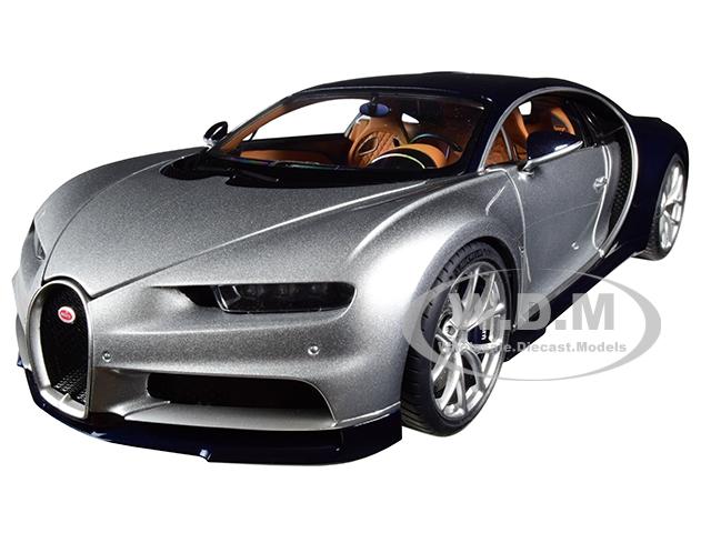 Bugatti Chiron Argent Silver and Atlantic Blue 1/18 Model Car by Autoart