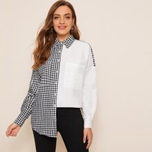 Pocket Patched Gingham Colorblock Blouse