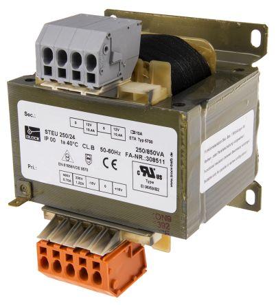 Block 250VA Isolating Transformer, 215V ac, 230V ac, 245V ac, 385V ac, 400V ac, 415V ac Primary 2 x, 12V ac Secondary