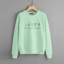 Pullover mit Buchstaben & Pflanzen Muster